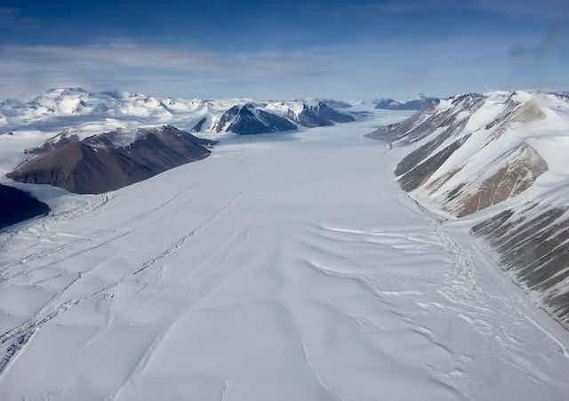A glacier in a valley in Antarctica.