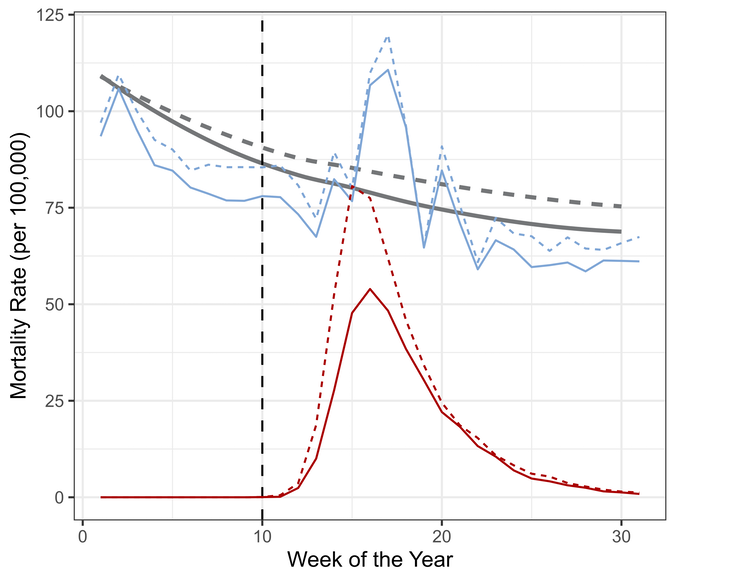 A graph showing how mortality rates for COVID-19 and all other causes in over-65s in the UK changed during the first 30 weeks of 2020