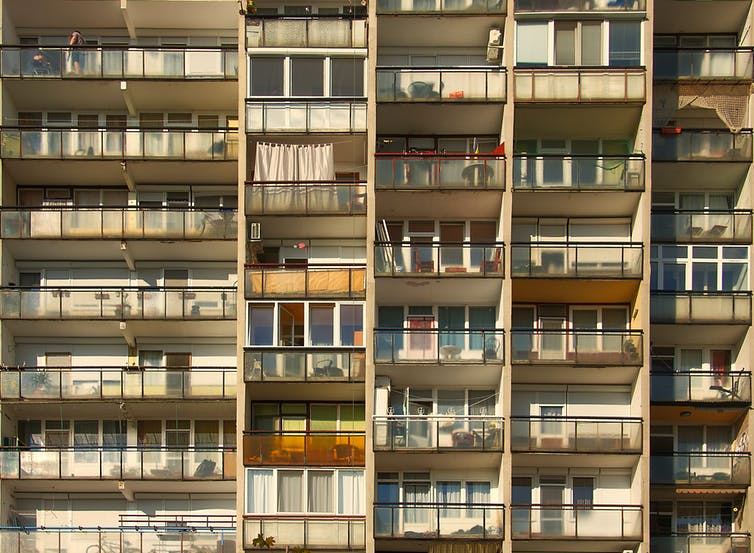 View of balconies on a tower block.