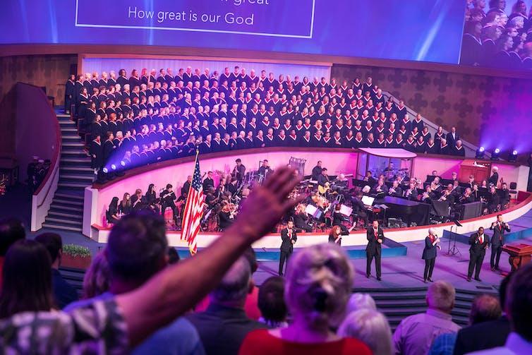 congregants in an evangelical church