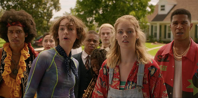 Movie still, daughters and musicians