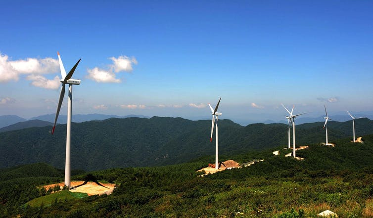 Wind turbines in South Korea