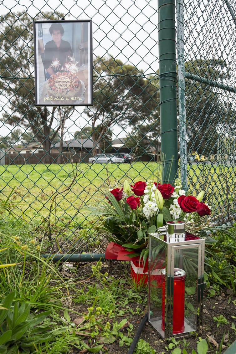 A photograph on a fence, above red and white roses.