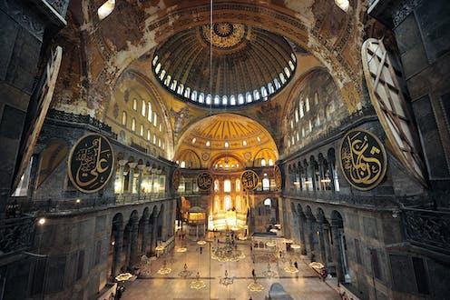 Vaulted interior of Byzantine church.