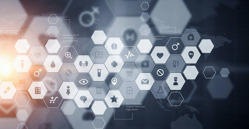 An abstract image of health-related icons in a honeycomb formation