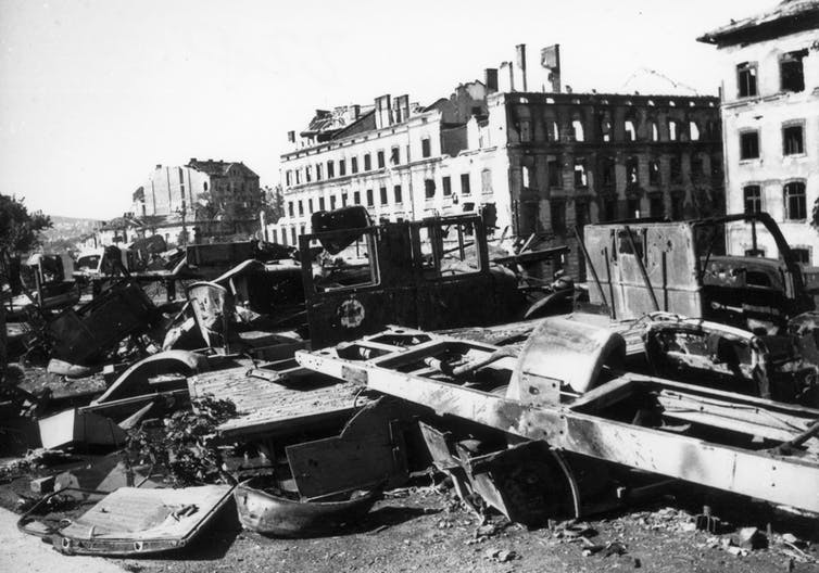 Wreckage after the 1945 Siege of Budapest.