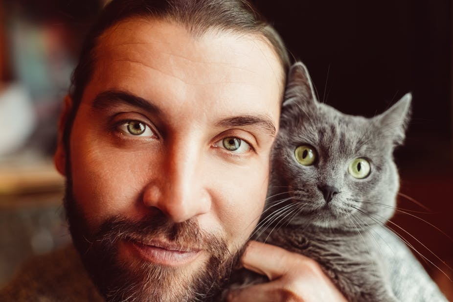 A bearded man poses with a gray cat.