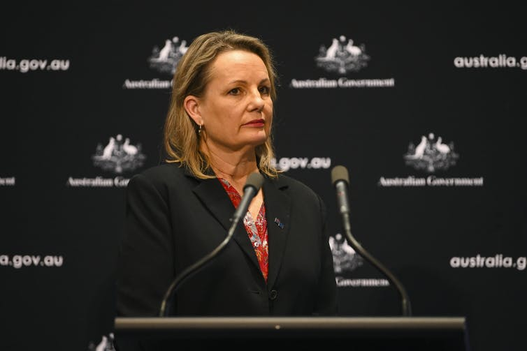 Environment Minister Sussan Ley behind a podium