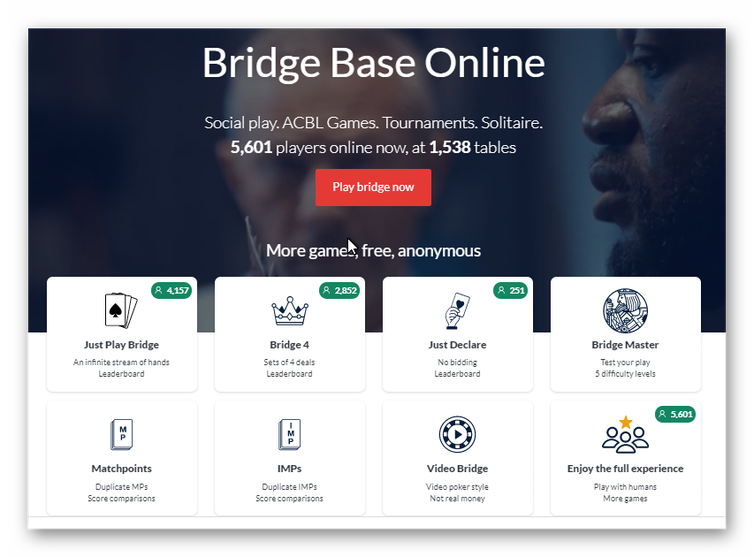 Screenshot of Bridge Base Online home page