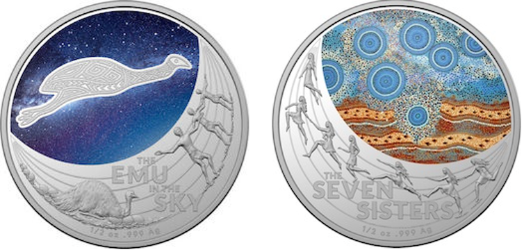 Two decorative coins with Indigenous designs.