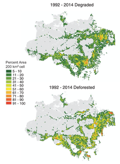 Map of deforestation and degradation in the Brazilian Amazon, 1992-2014.