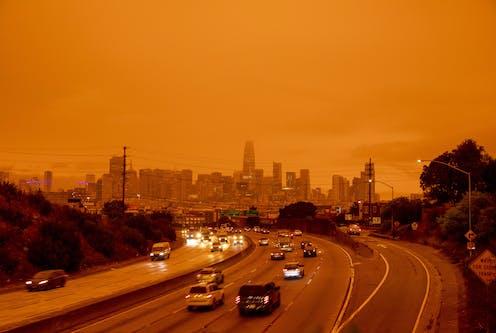Orange sky over San Francisco