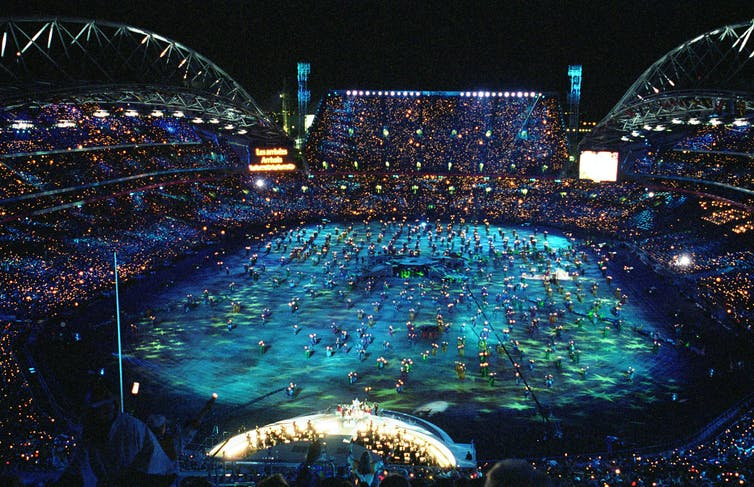 Aerial shot of Sydney Olympic opening ceremony