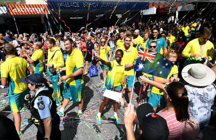 A victory parade for the Australian team after the 2018 Commonwealth Games