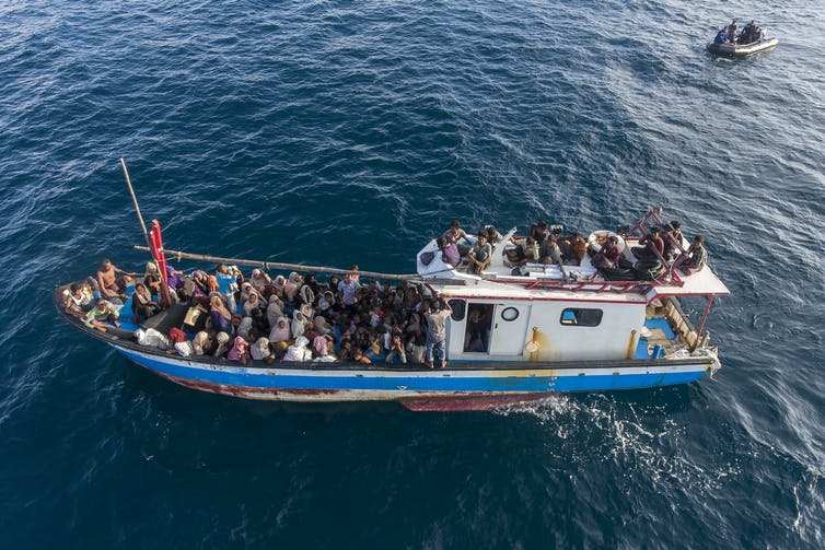 A boat carries ethnic Rohingya off North Aceh, Indonesia, in June 2020.