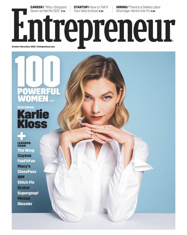 Karlie Kloss on the cover of Entrepreneur.