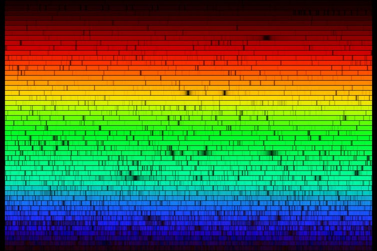 A rainbow image of stripes fading from red through the visible spectrum to blue, with narrow black lines.