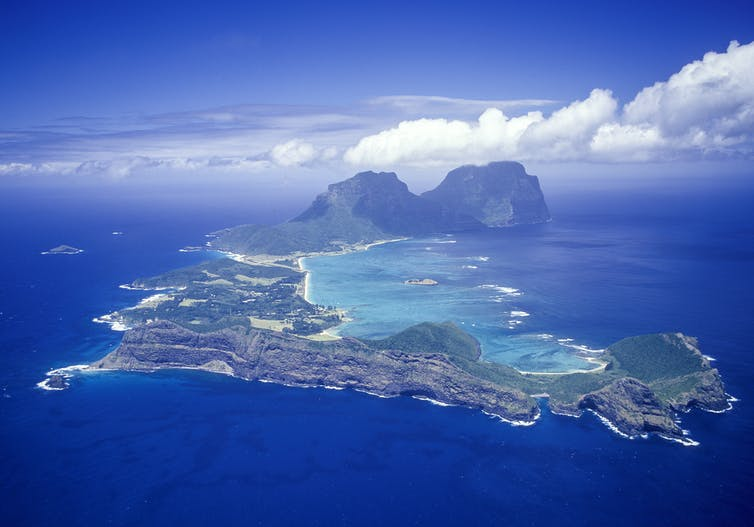 An aerial view of Lord Howe Island