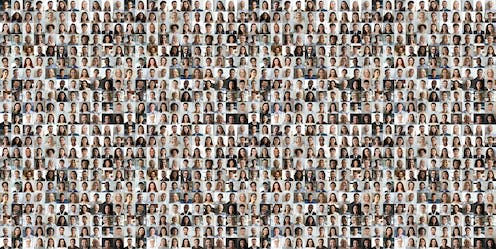 A collage made of photos of many people's faces.