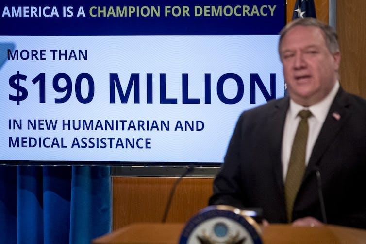 Le secrétaire d'État Mike Pompeo lors d'une conférence de presse