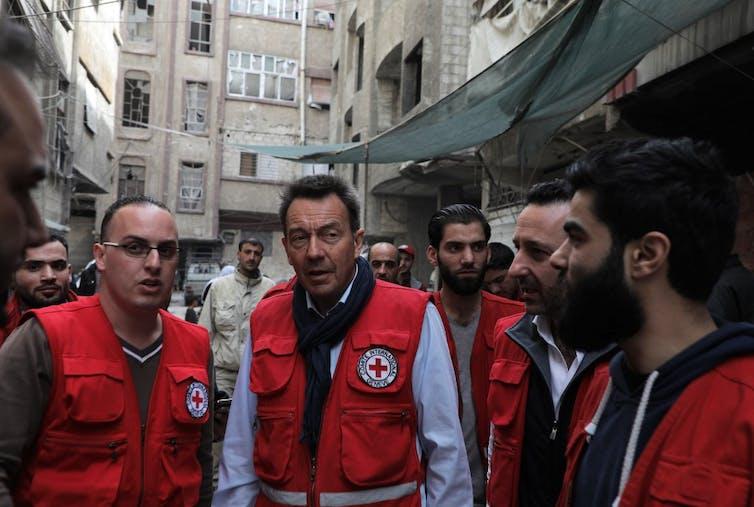Peter Maurer le président du Comité international de la Croix-Rouge (CICR), et ses collègues en Syrie