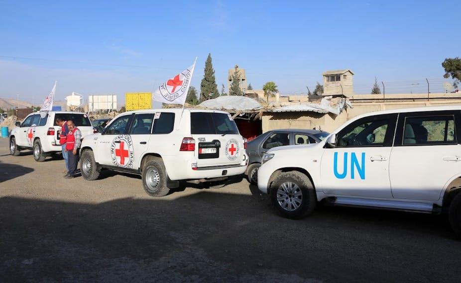 Véhicules du CICR et de l'ONU en Syrie