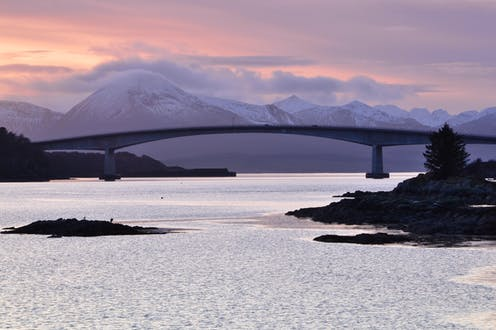 Skye bridge with the Cuillins in the background