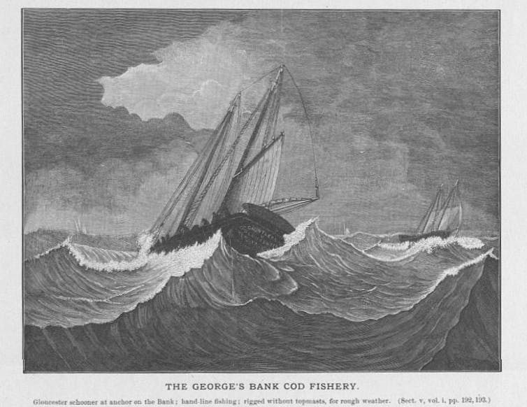 Black and white drawing of a ship at sea