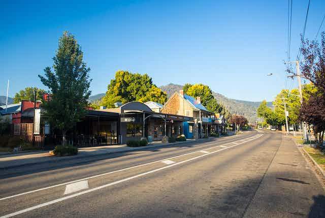 The main street of Bright, Victoria on a sunny day.