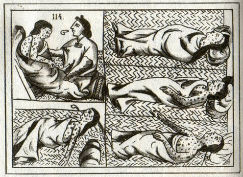Drawing of Aztec smallpox victims