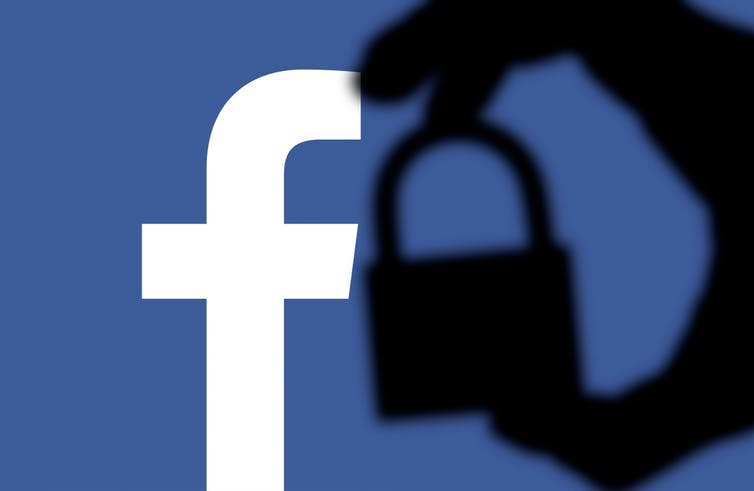 Facebook logo with a silhouette of a padlock
