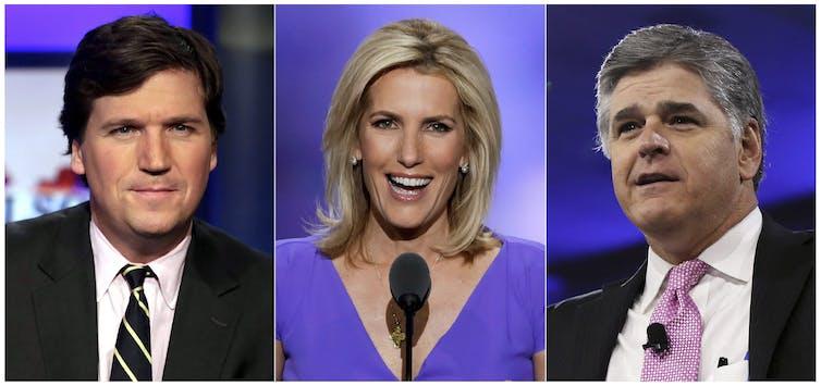 Fox News personalities Tucker Carlson, Laura Ingraham and Sean Hannity.