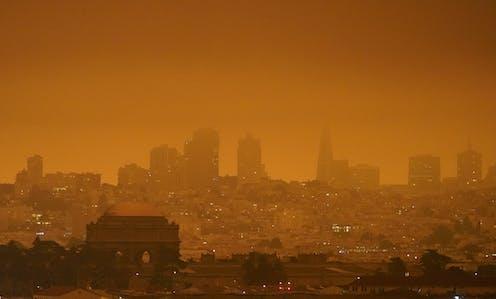 An orange haze settles over the San Francisco skyline.