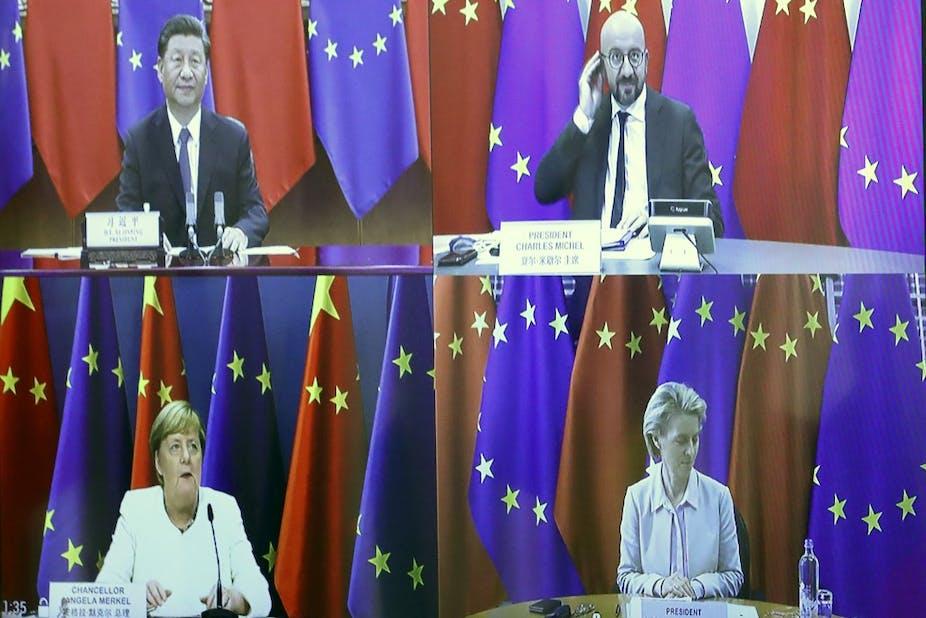 Xi Jinping, Charles Michel, Angela Merkel et Ursula von der Leyen