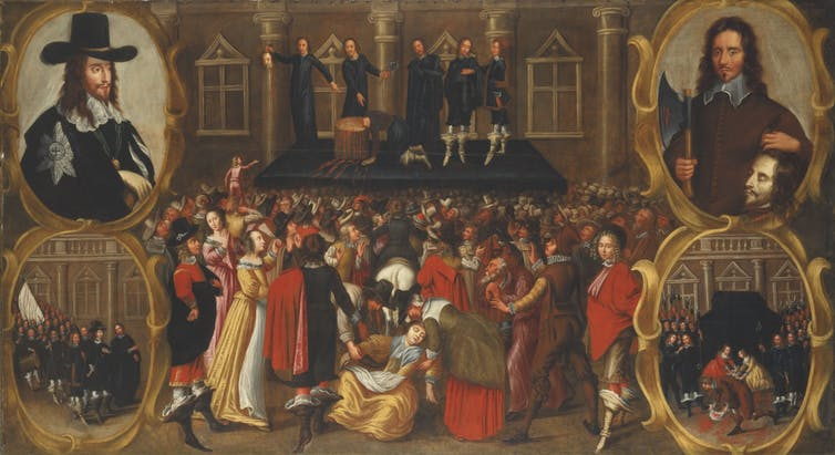 Painting of crowd watching execution of Charles I. Four figures in inset pictures including one of a man with king's head.