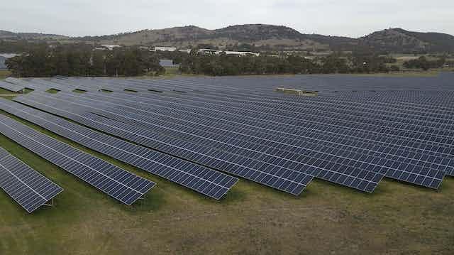 Aerial view of a solar farm
