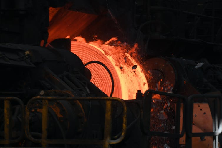 Steel being made