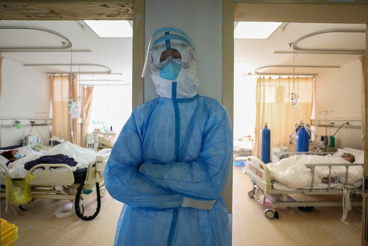 A nurse in Wuhan, China in full PPE.