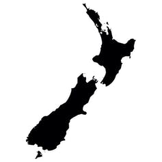 A silhouette of New Zealand
