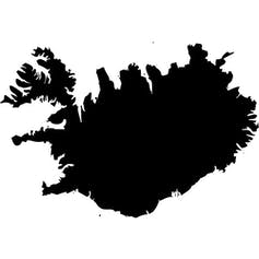 A silhouette of Iceland