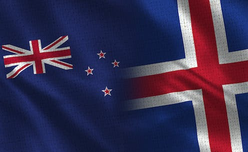 The flags of New Zealand and Iceland merged together.