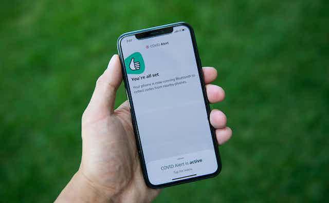 COVID Alert app open on a smartphone
