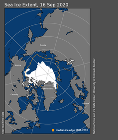 Map showing Arctic sea ice extent, September 16, 2020.