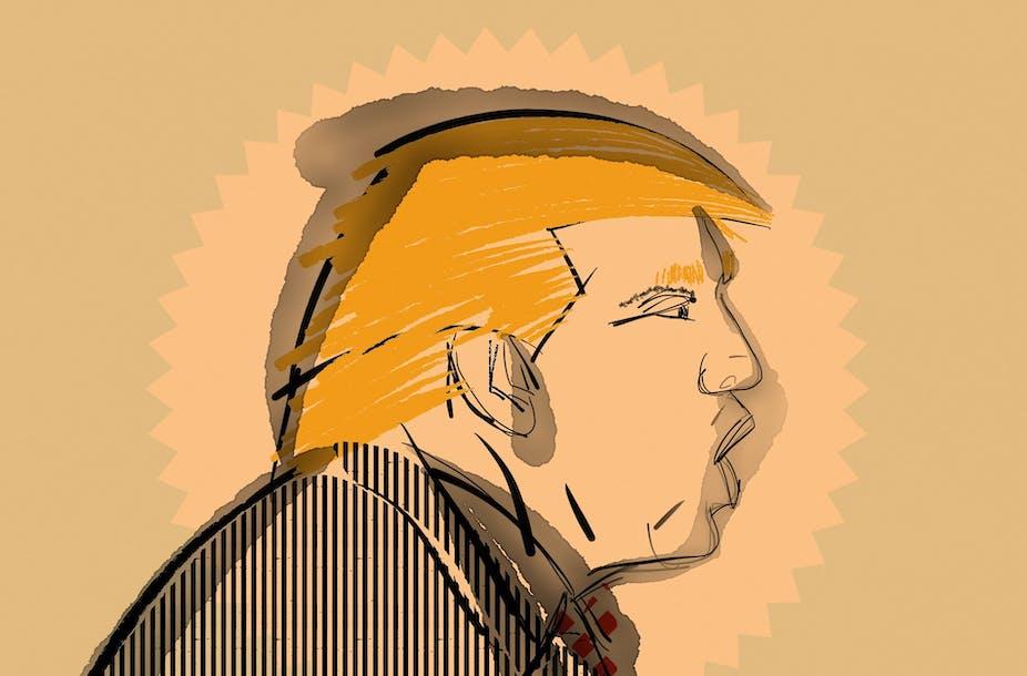 Illustration of Donald Trump speaking