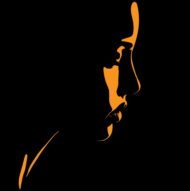 Black and amber illustration of a silhouetted woman