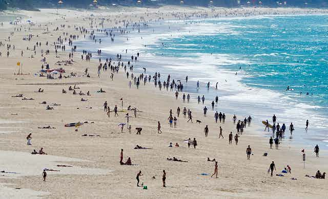 Crowds of people on a beach