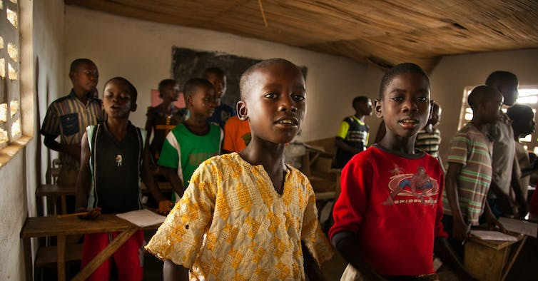 Boys in a school in Sierra Leone