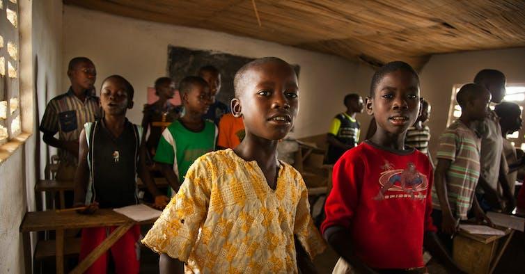 Boys in a school in Sierra Leone