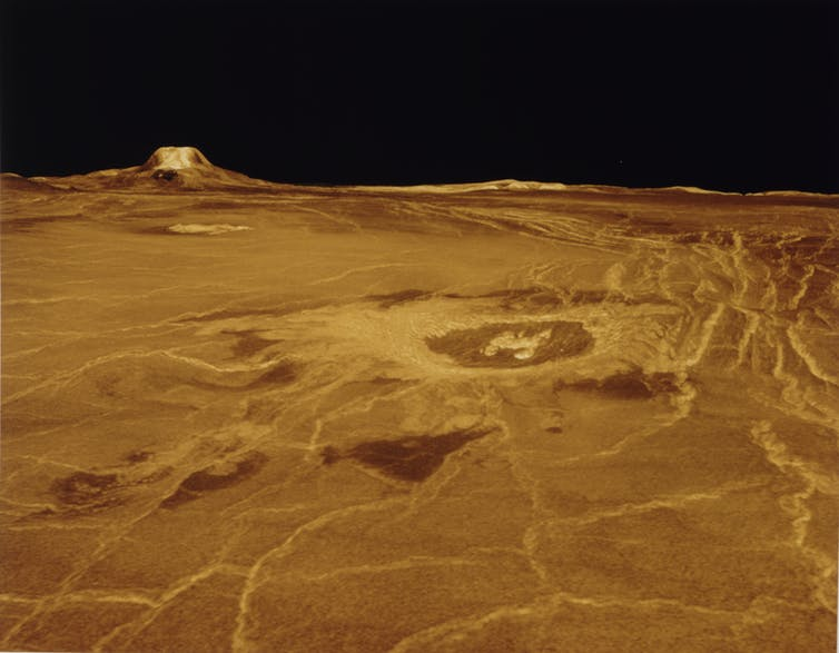 Computer generated surface view of Eistla Regio region on Venus.