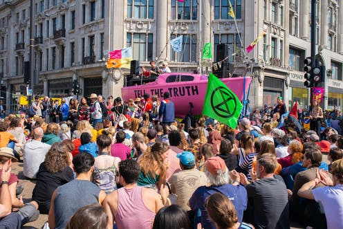 Climate change protesters at the Extinction Rebellion demonstration, at Oxford Circus, London